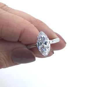 Clear CZ Rhodium Plated Brass Ring